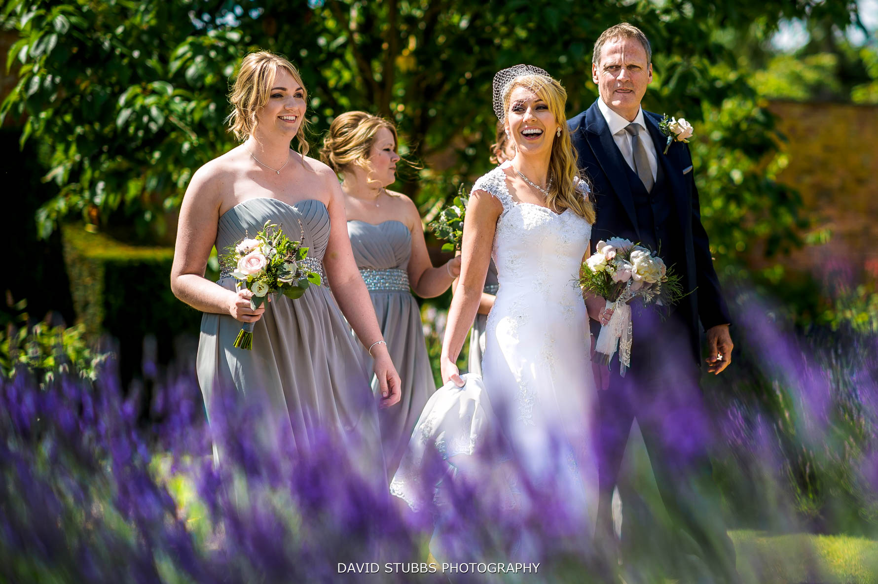 photo of the bride through the lavender