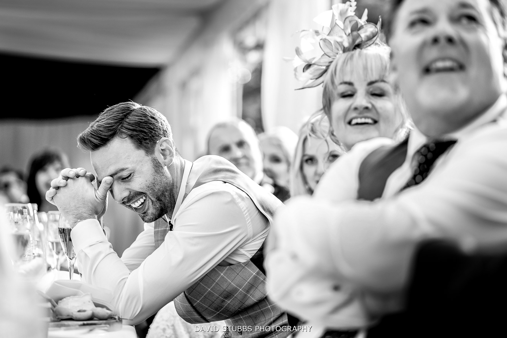 grooms reaction on table