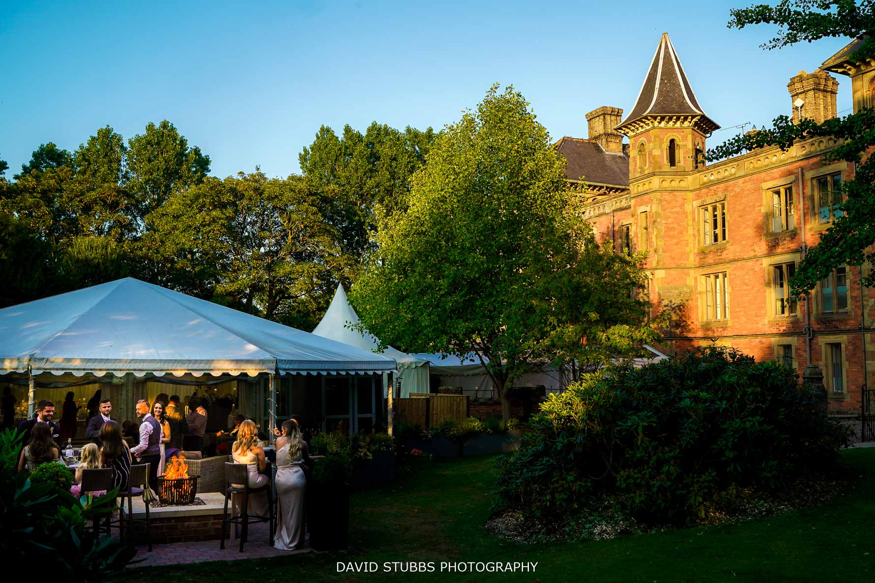 evening sun at soughton hall wedding