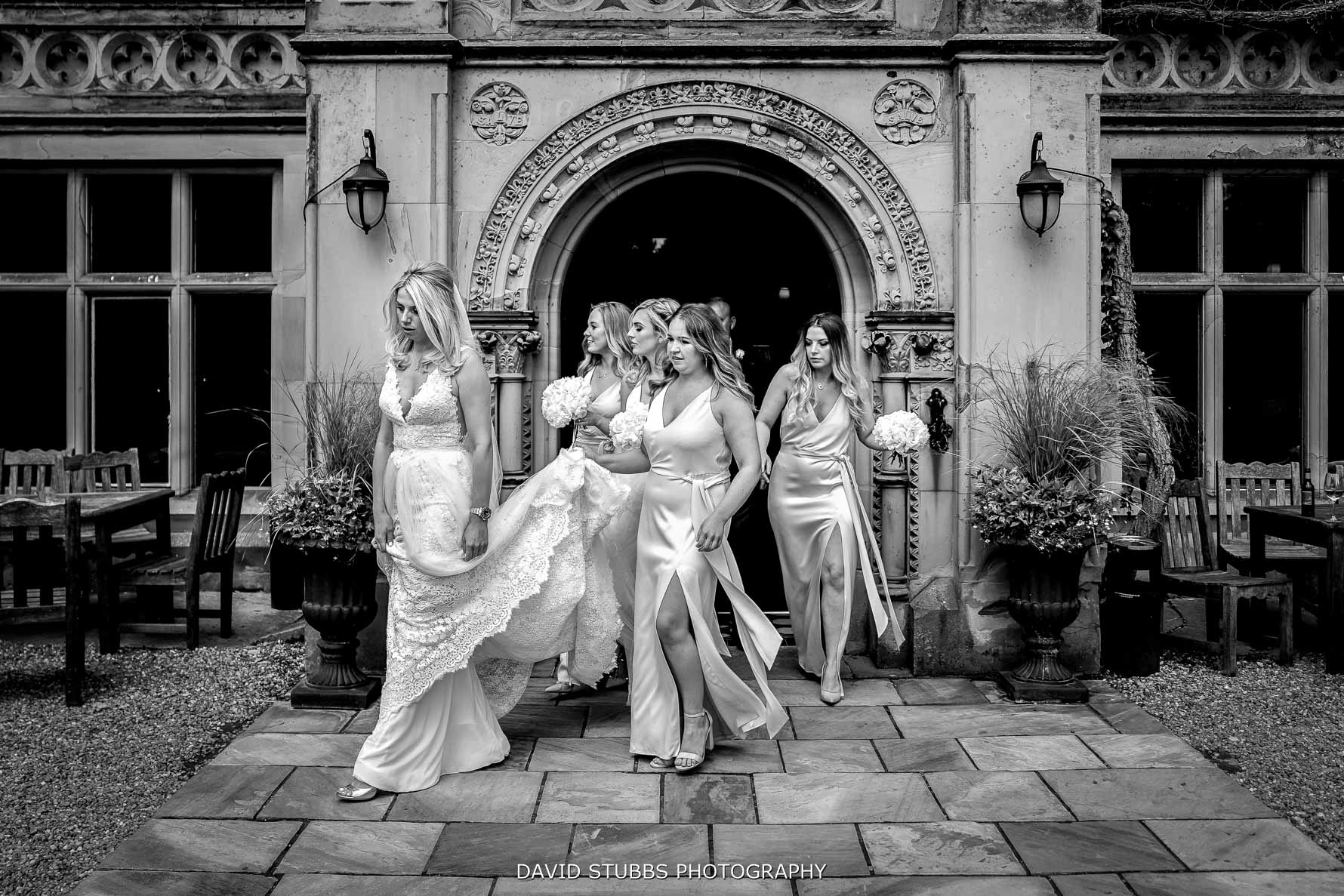 bridemaids leaving the hall