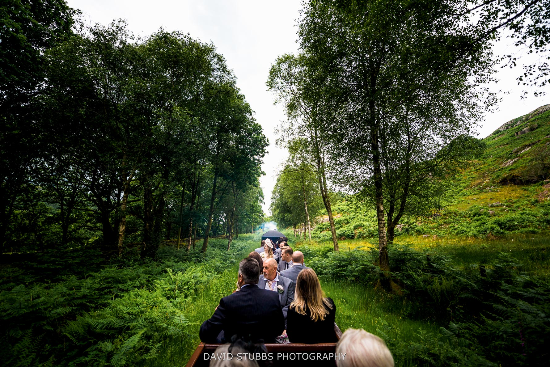wedding guests taking a train ride