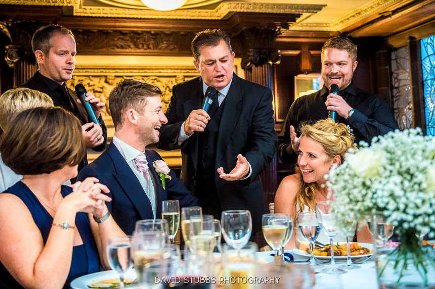 singers with bride and groom