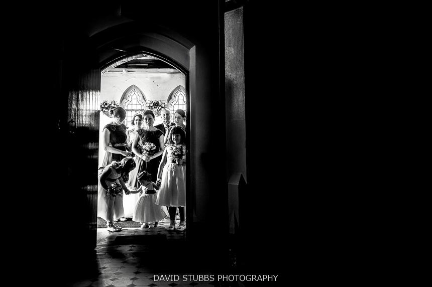 waiting int he church door wedding