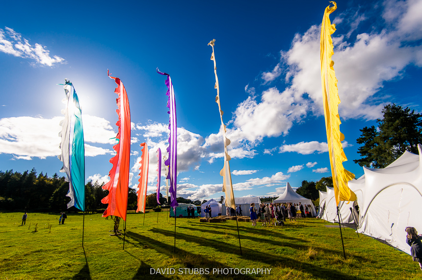 festival flags at wedding delamere
