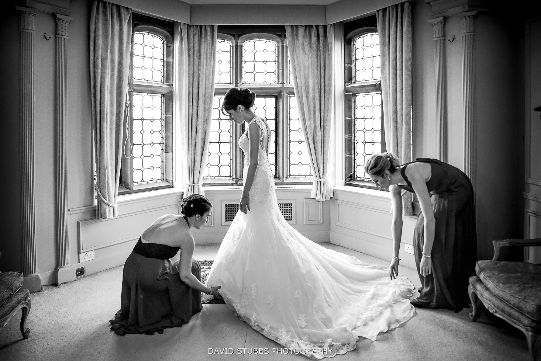 wedding dress on at the manor house