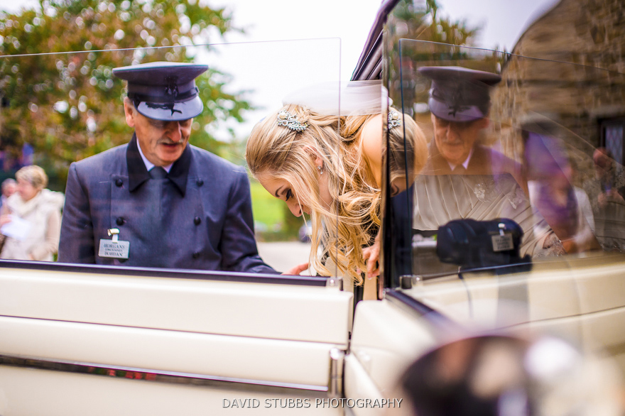 bride getting out of the car