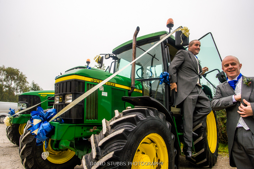 groom wedding tractor