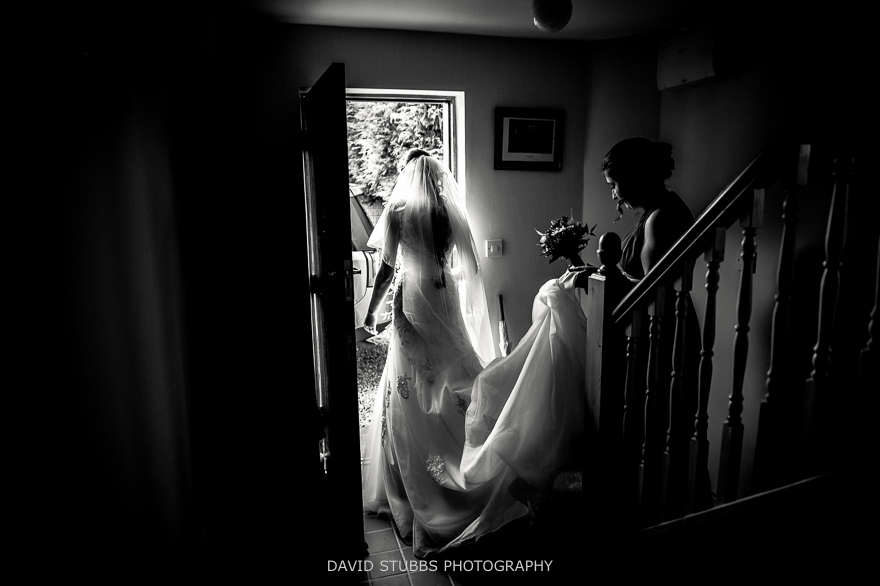 bride leaving the house
