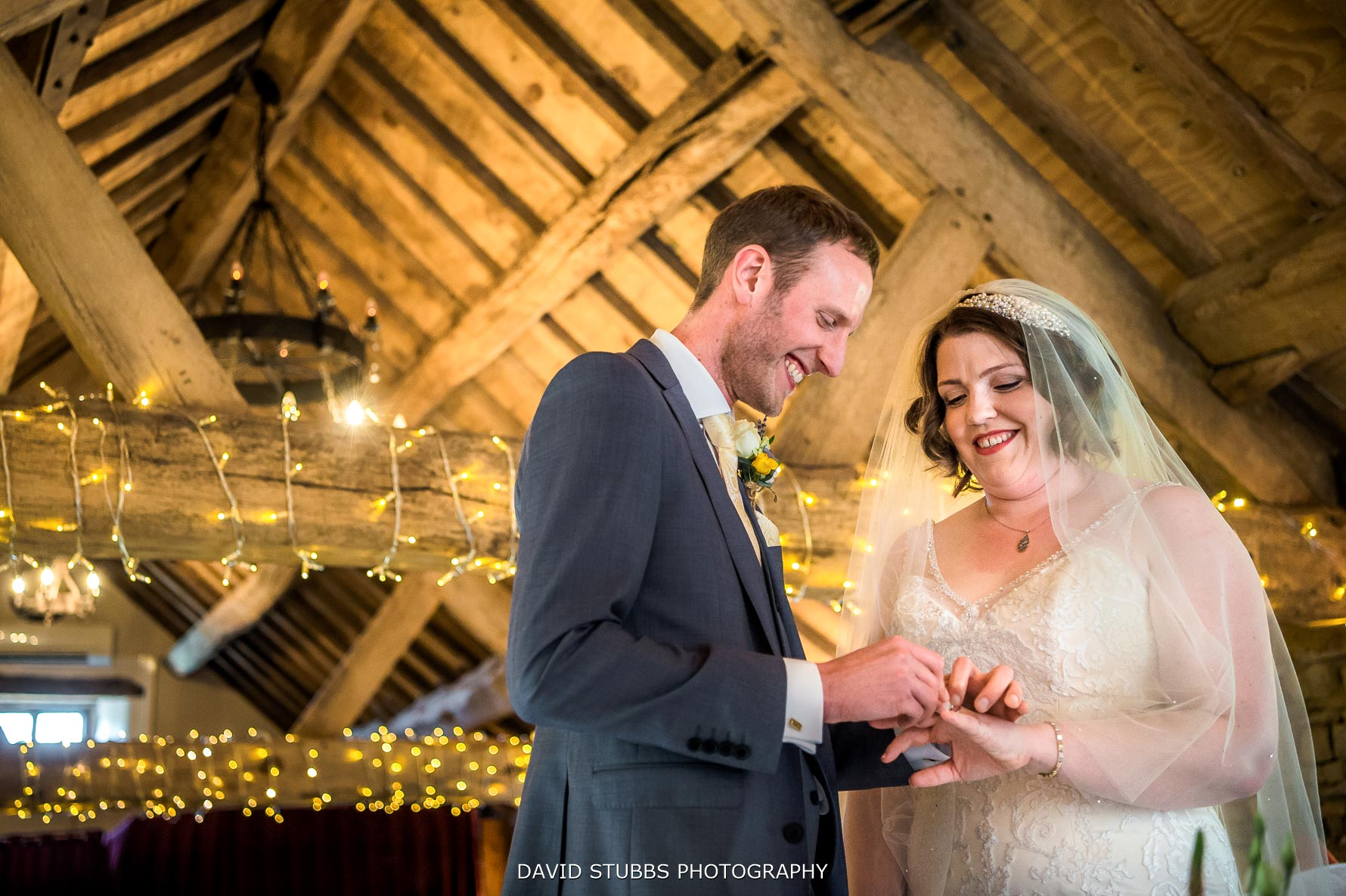 exchanging their vows at hyde bank farm