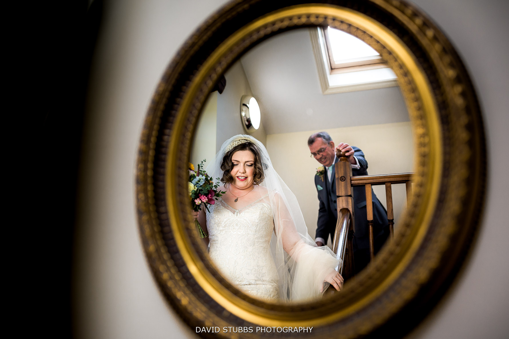 photo of the bride in mirror reflection