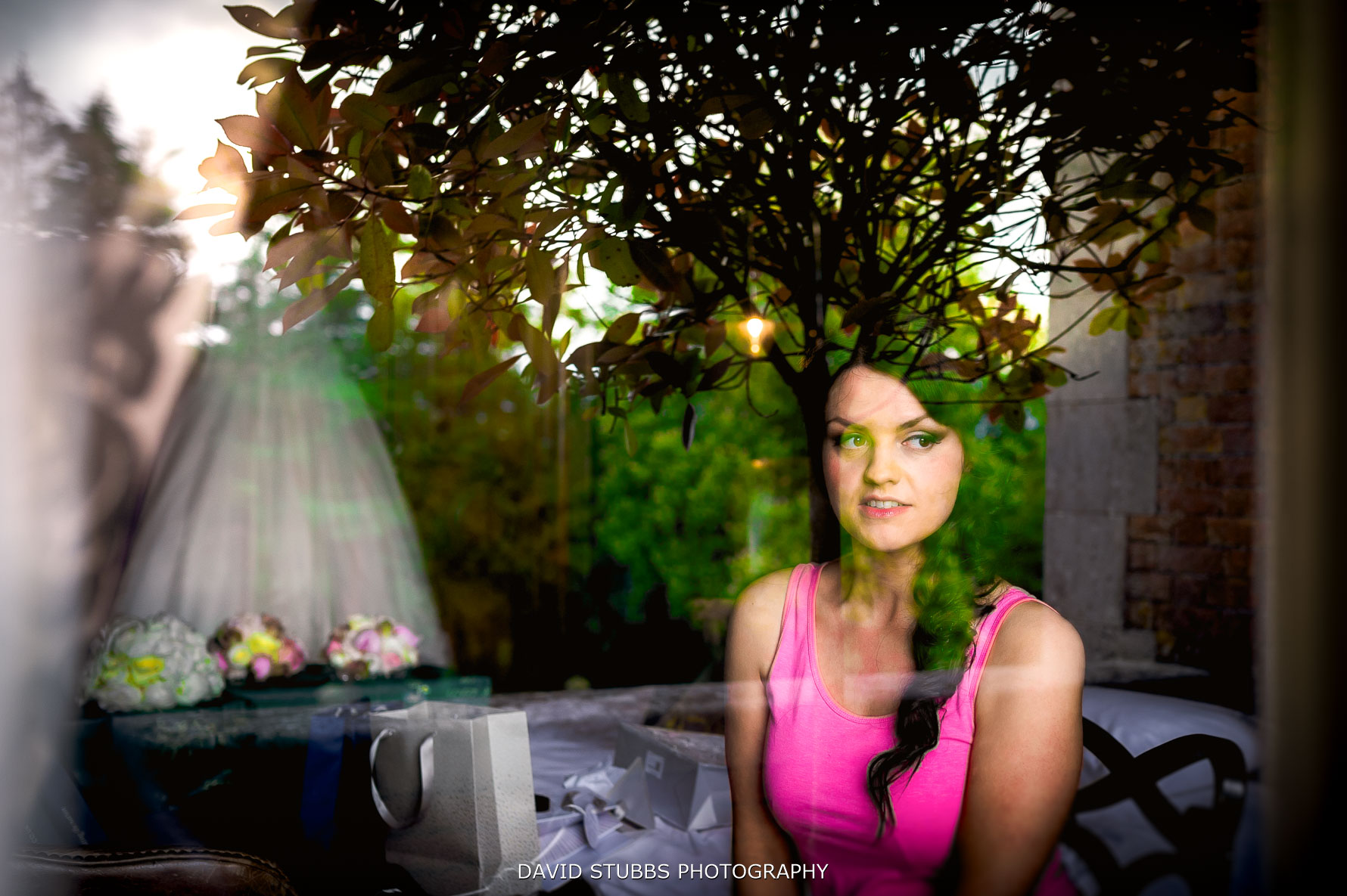 photographed through the window for bridal preparations