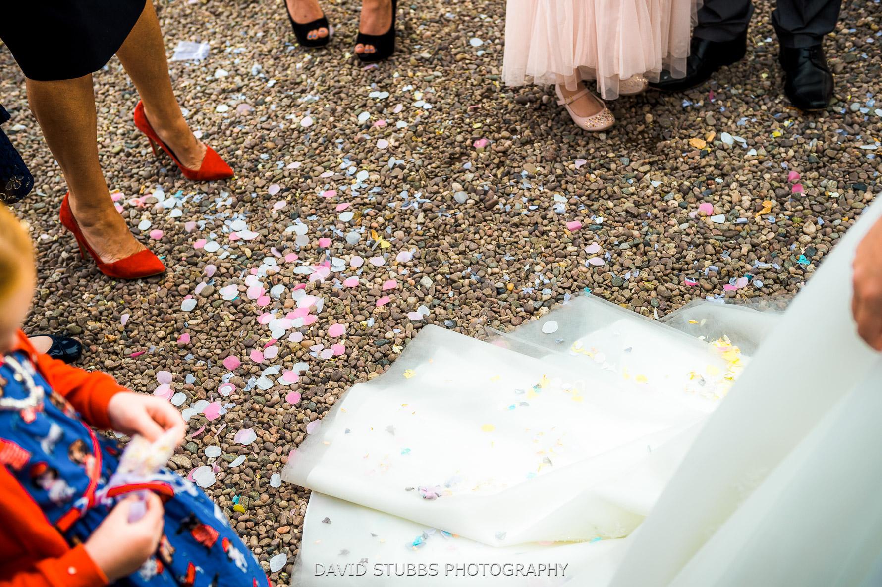posh shoes and confetti