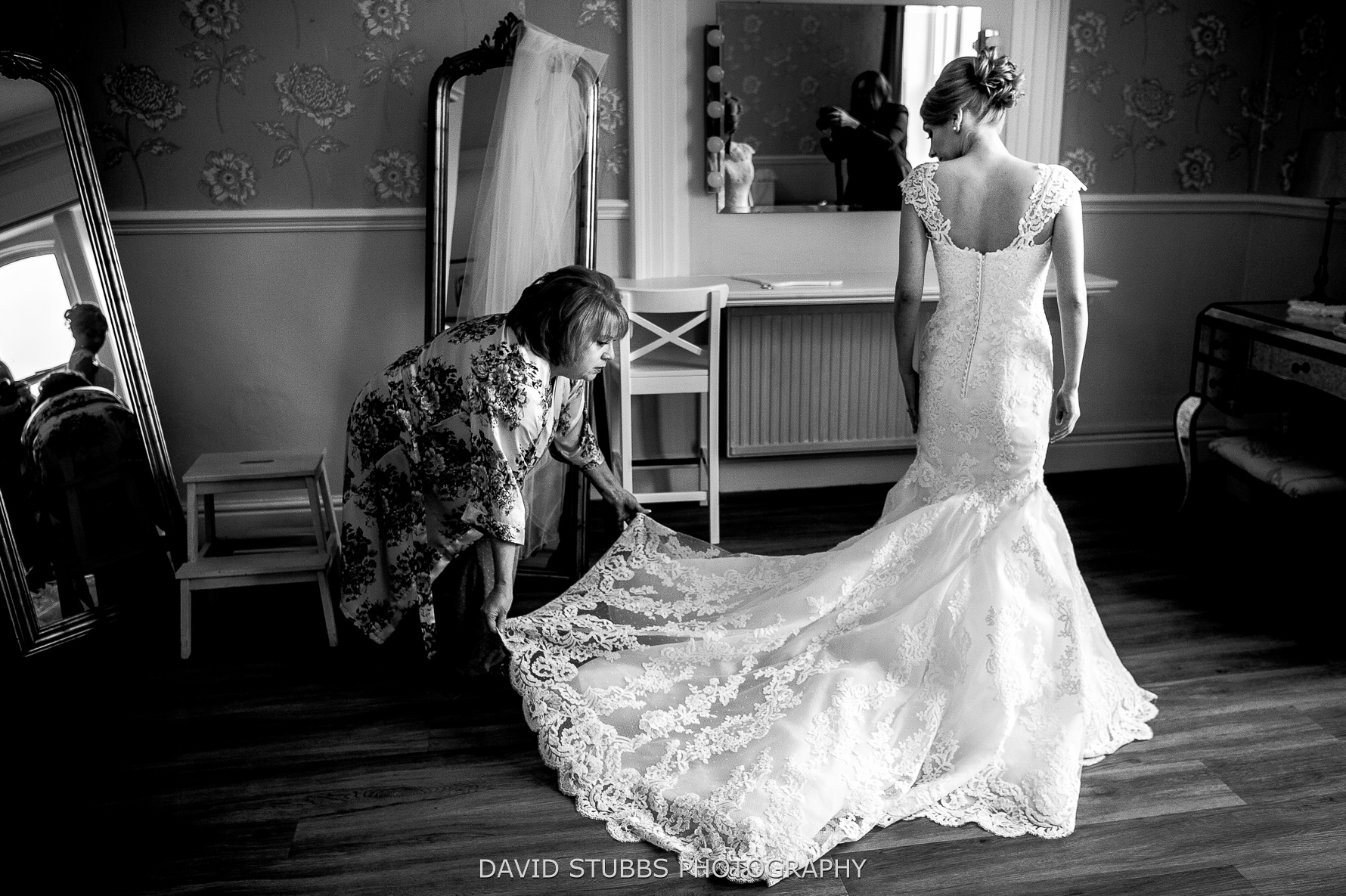 gettign wedding dress on photo