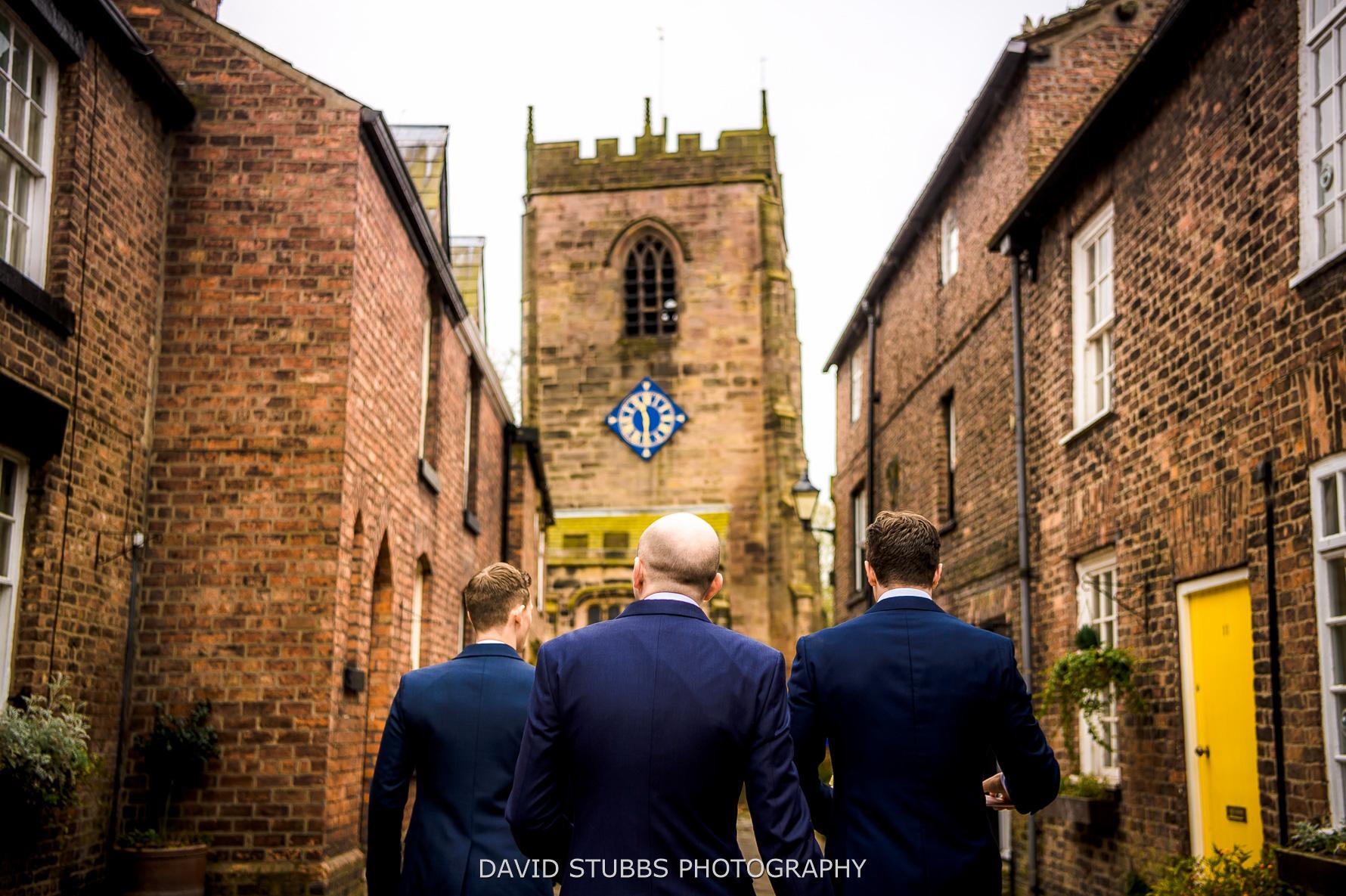 walking to church