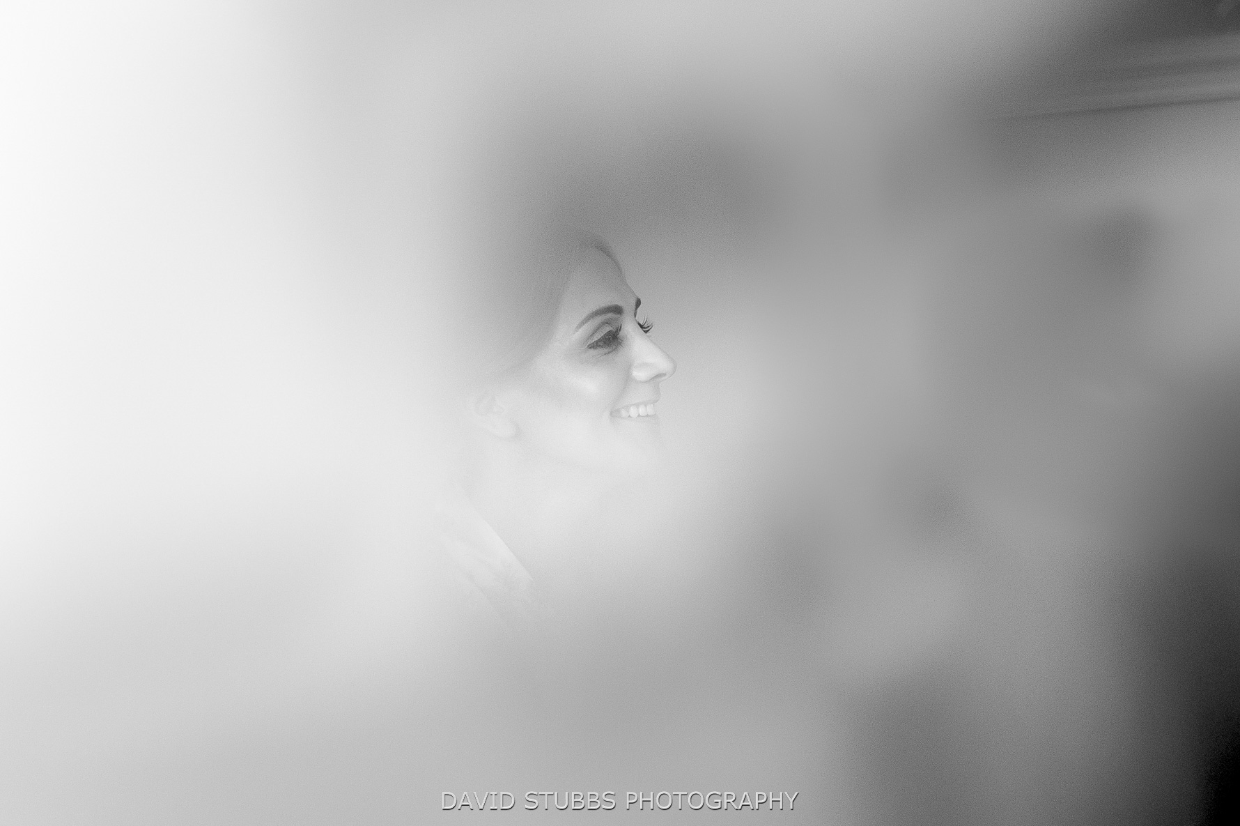 bride through haze