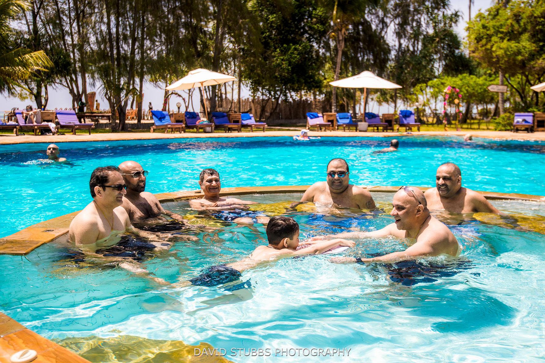int he pool