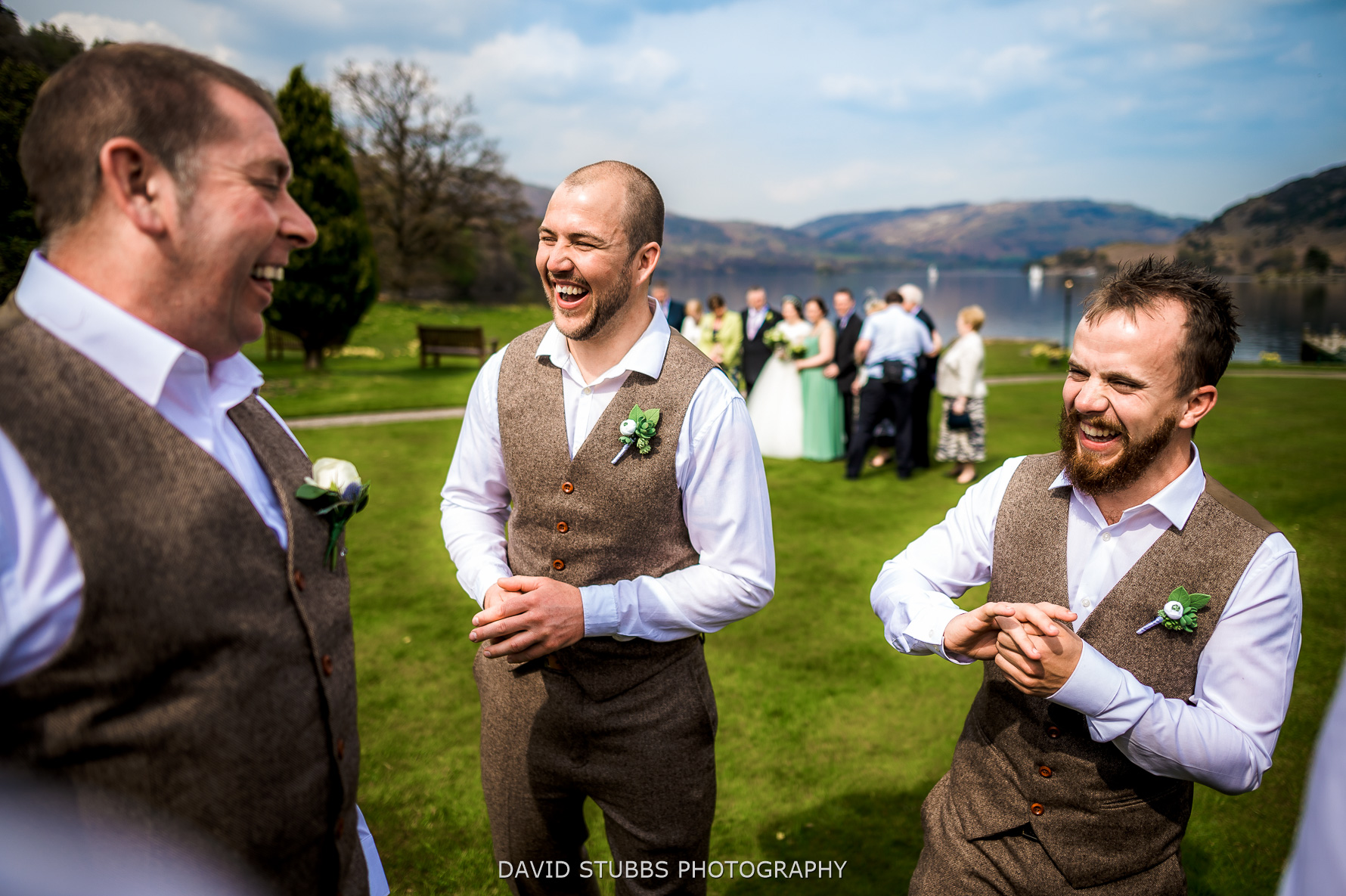 groomsmen having a good time
