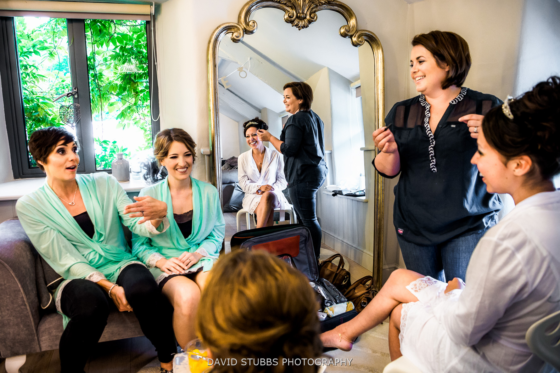 wide photo of bridal prep