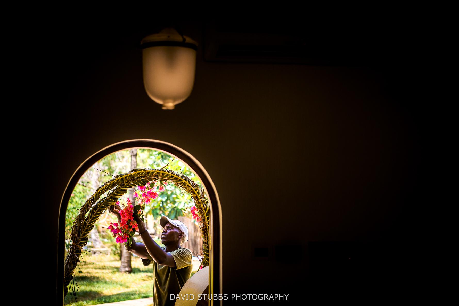 setting flowers