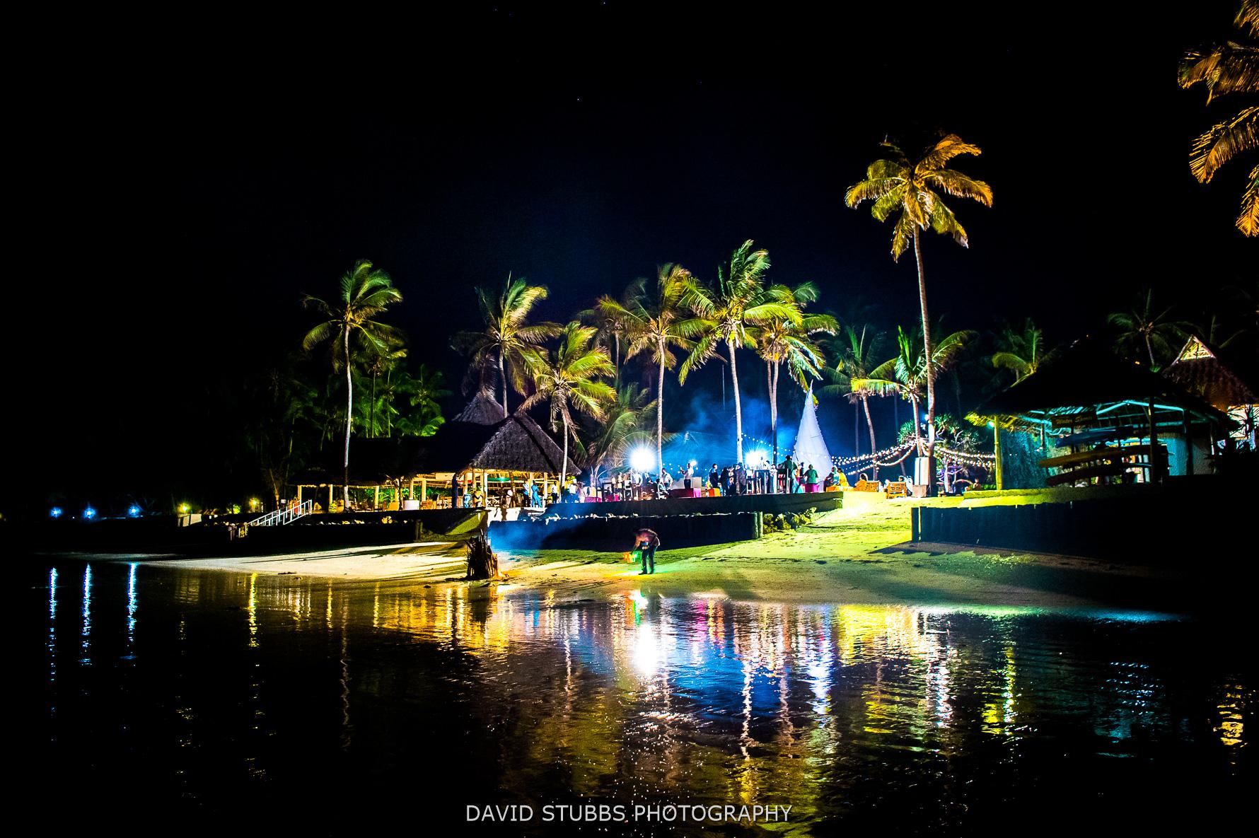 night time photo of wedding