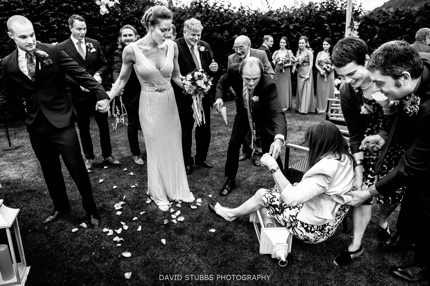 mother of groom falling over