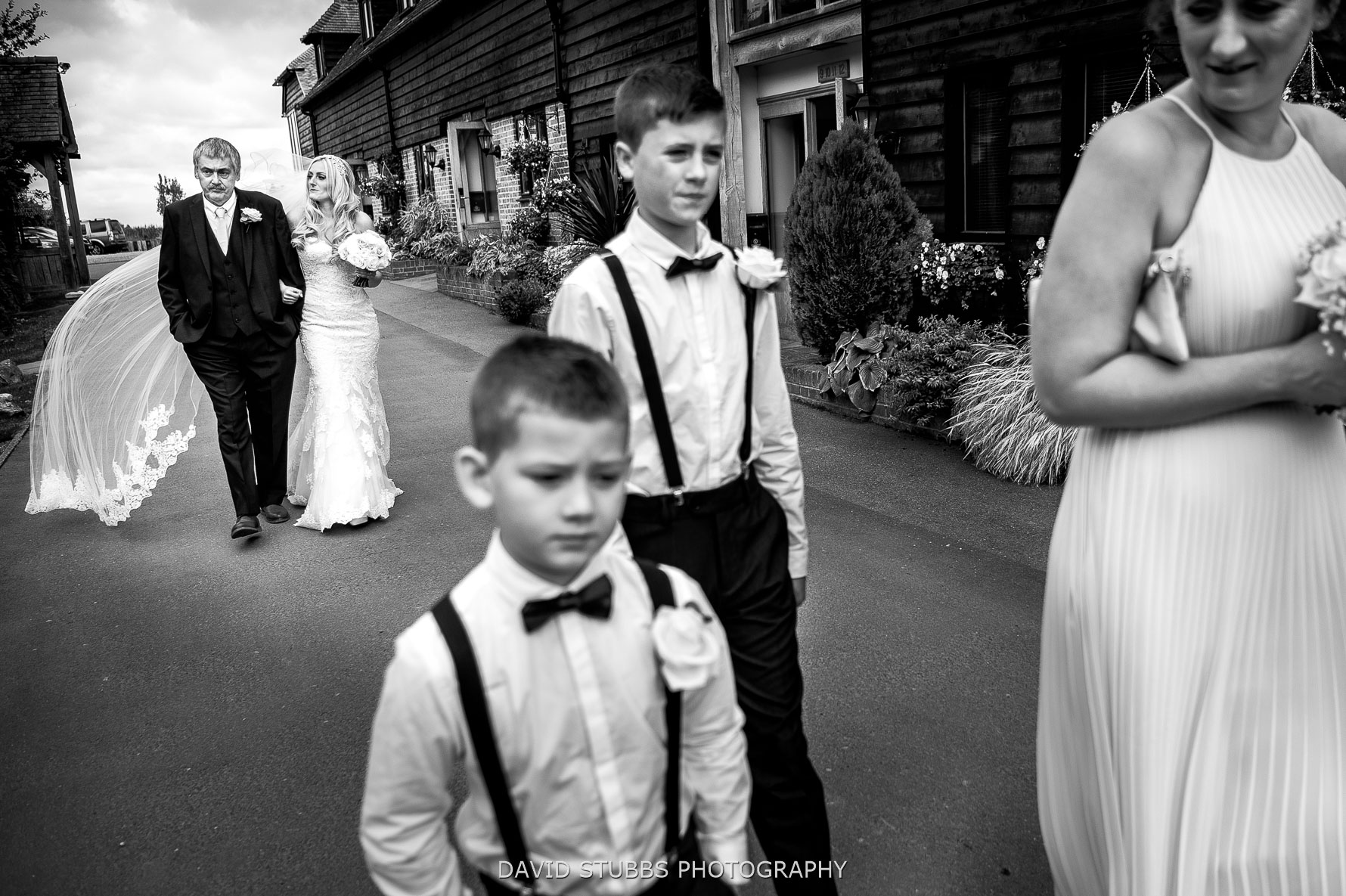 bride walking with her dad to be married