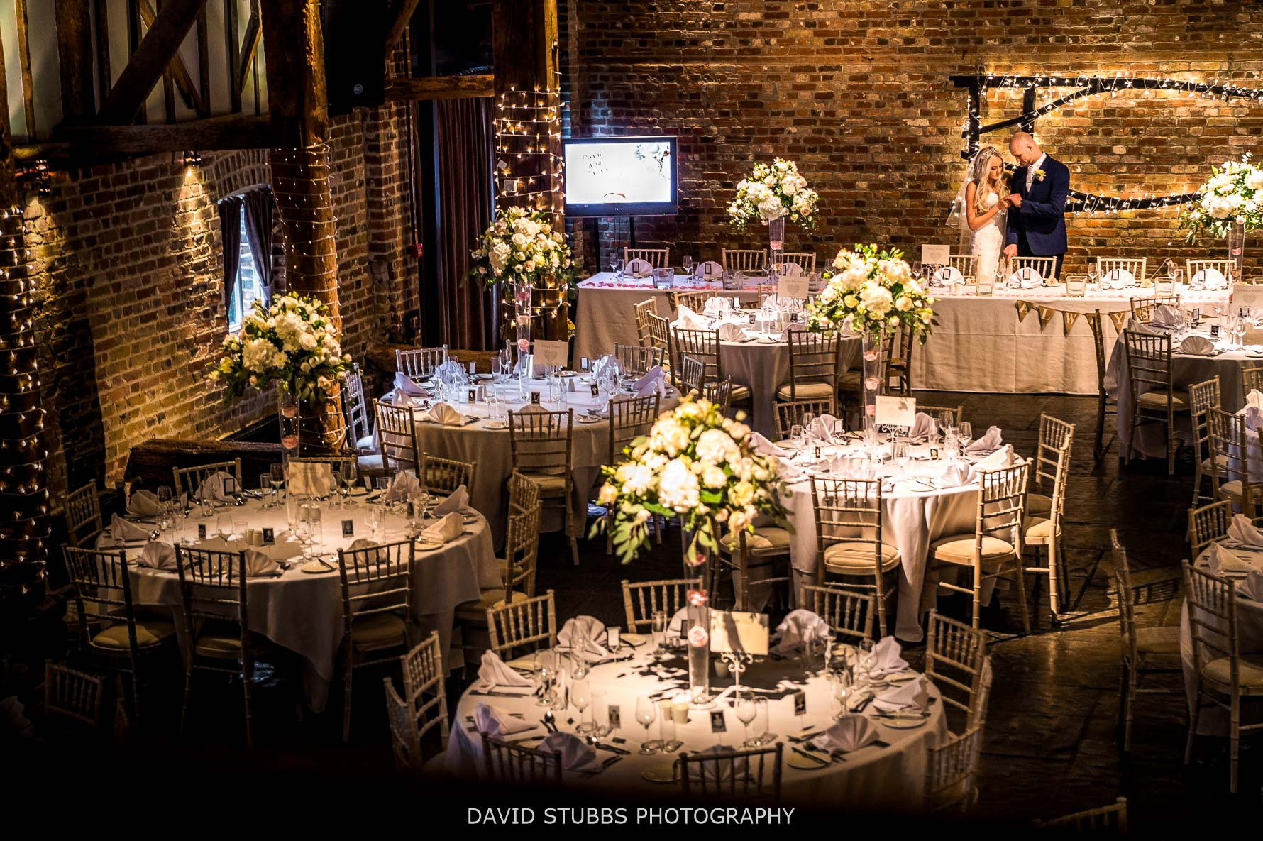 wedding breakfast room in barn