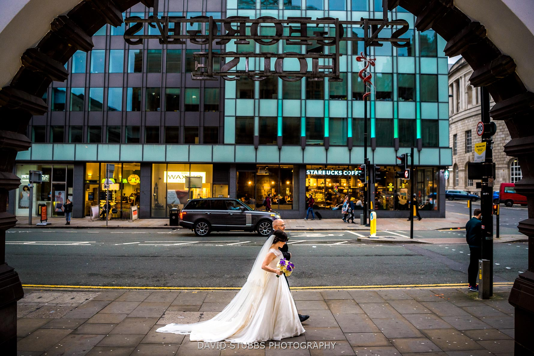 couple wed in city