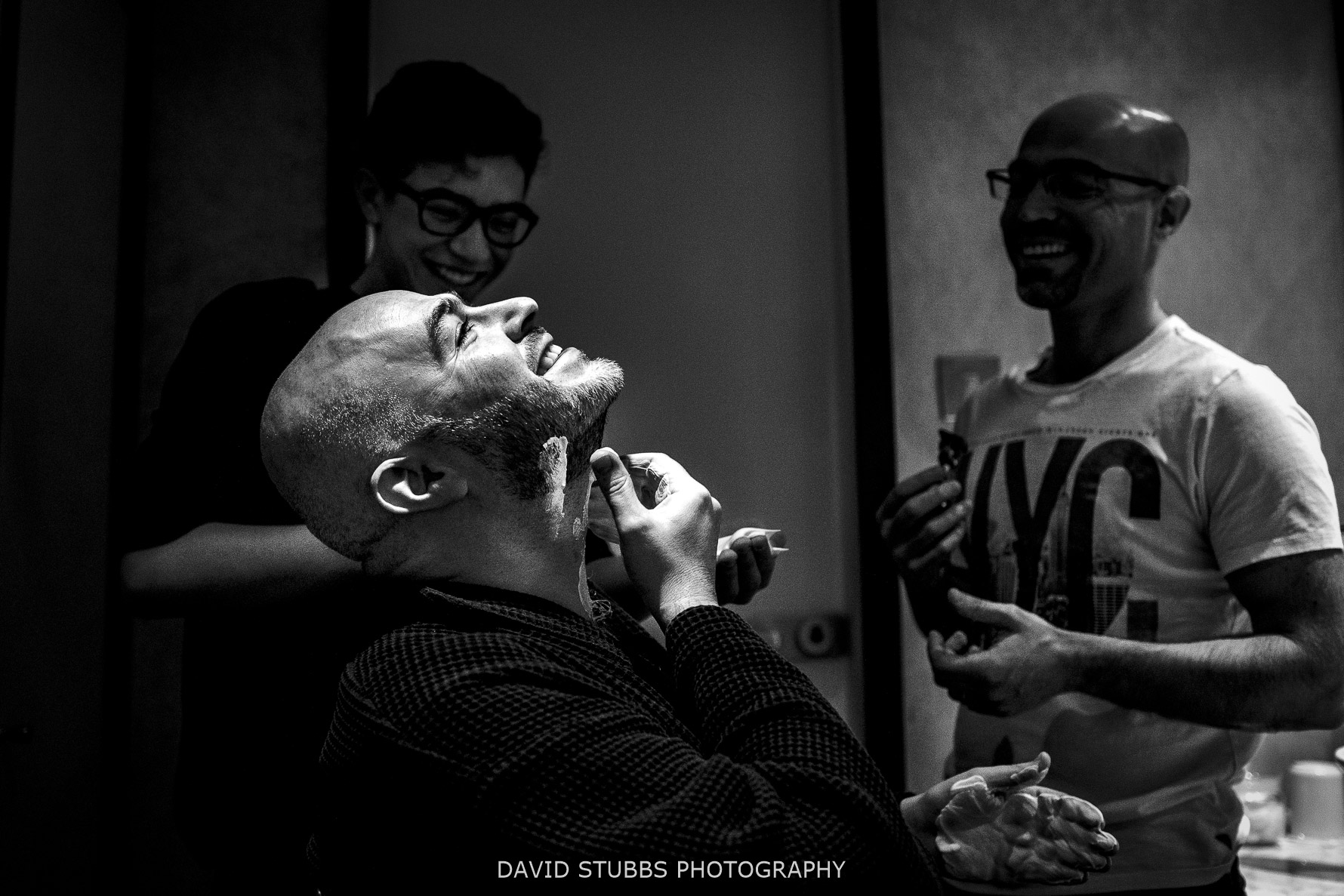 shaving in black and white