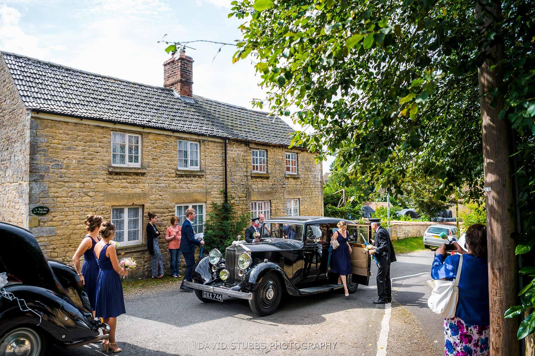 wedding car approach