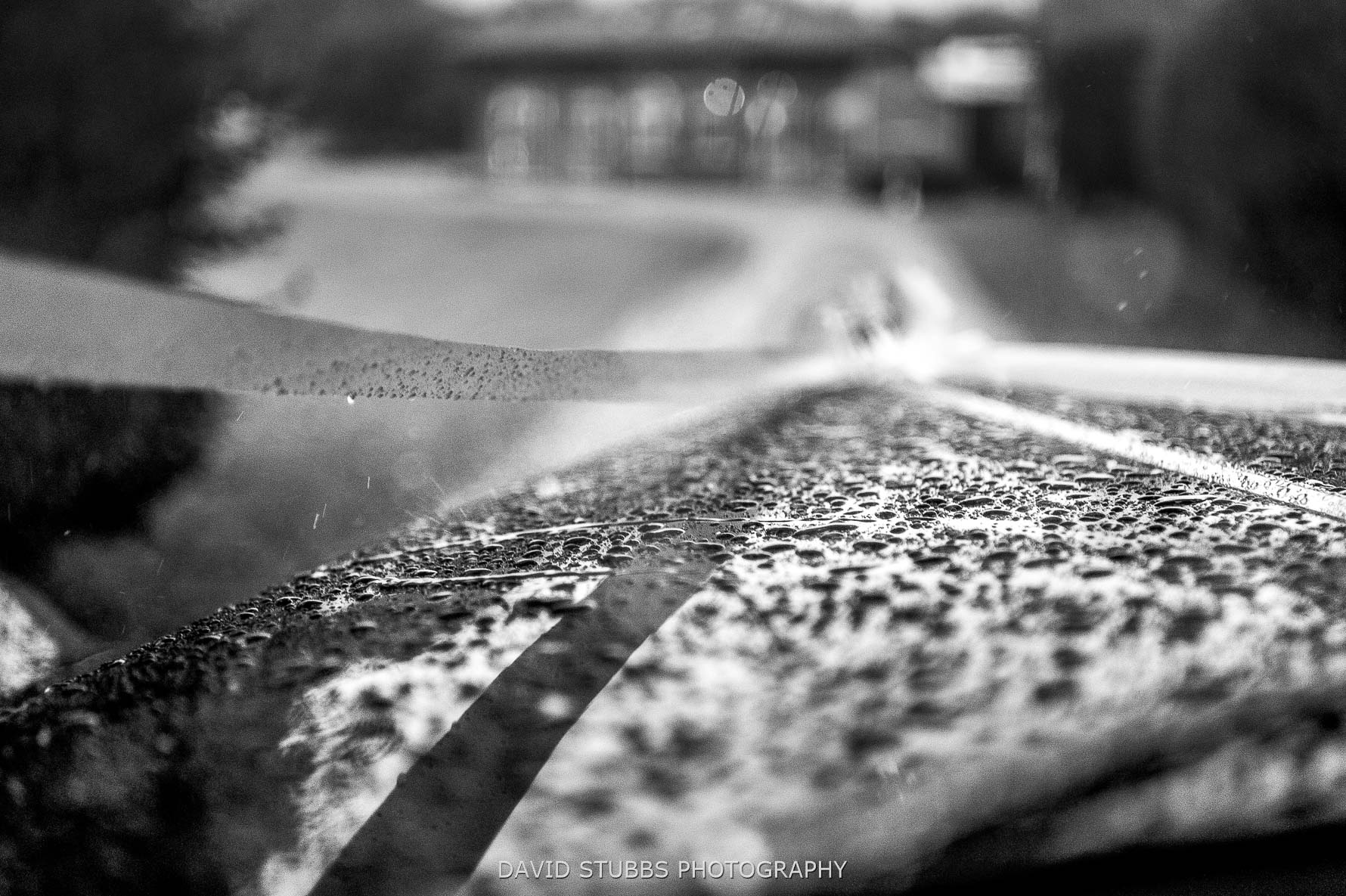 rain droplets on car bonnet