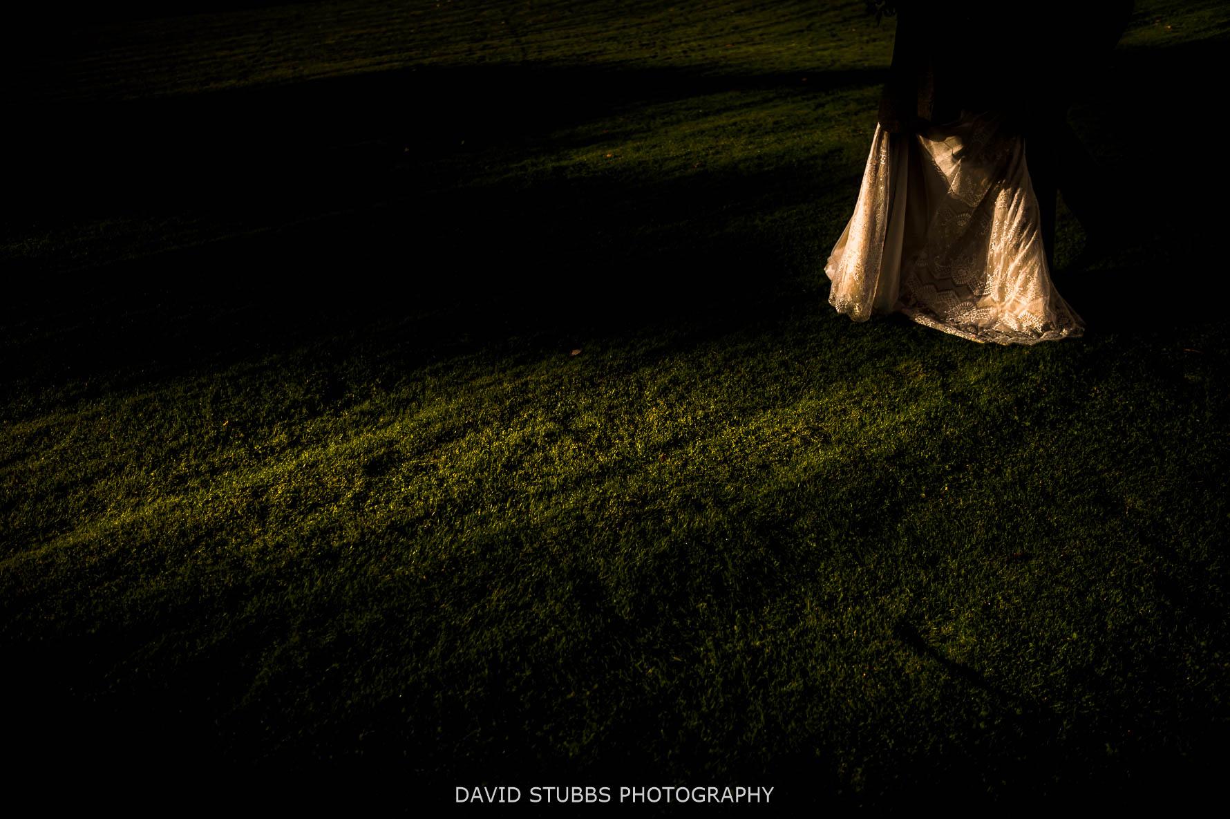 wedding dress on lawn