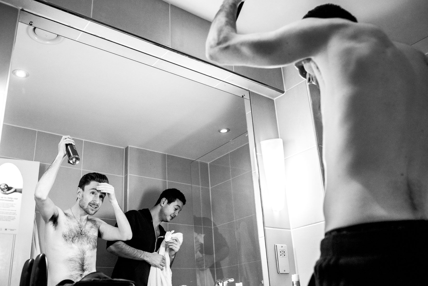groom in the mirror reflection