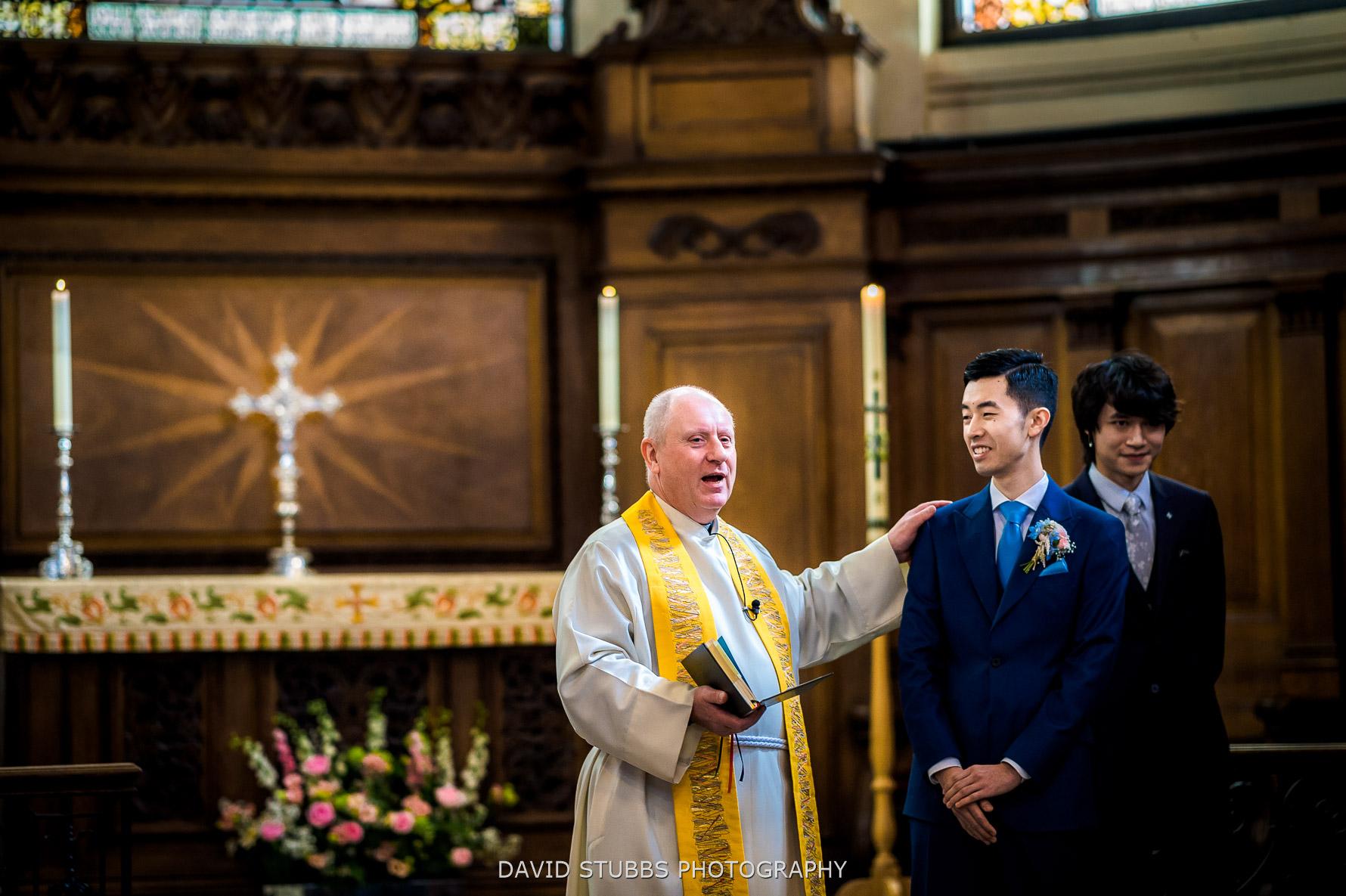 groom eady in church