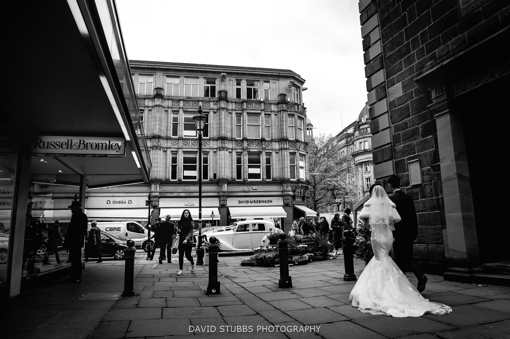 walking through the city centre after the wedding