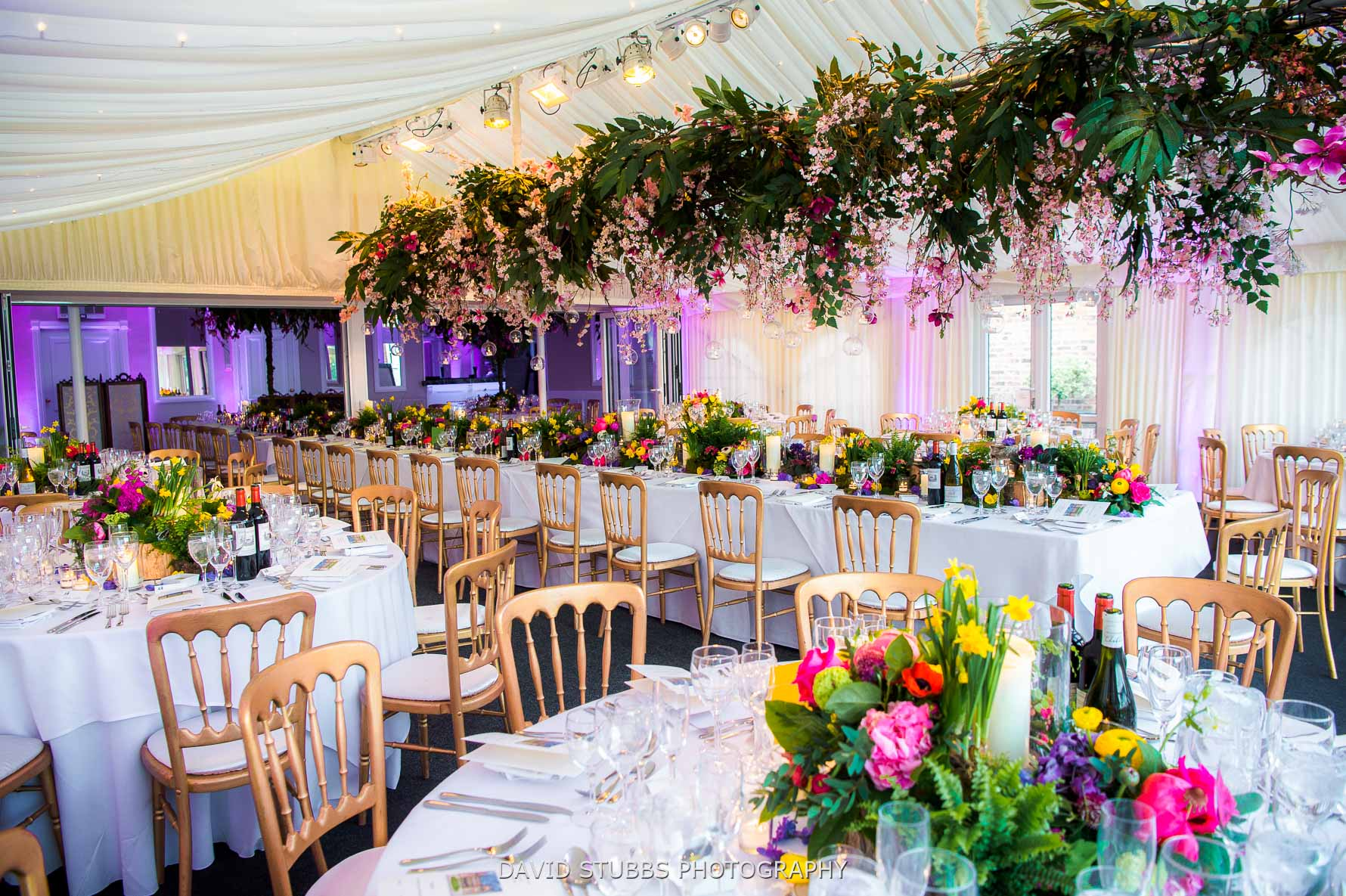 wedding breakfast room set-up with flowers