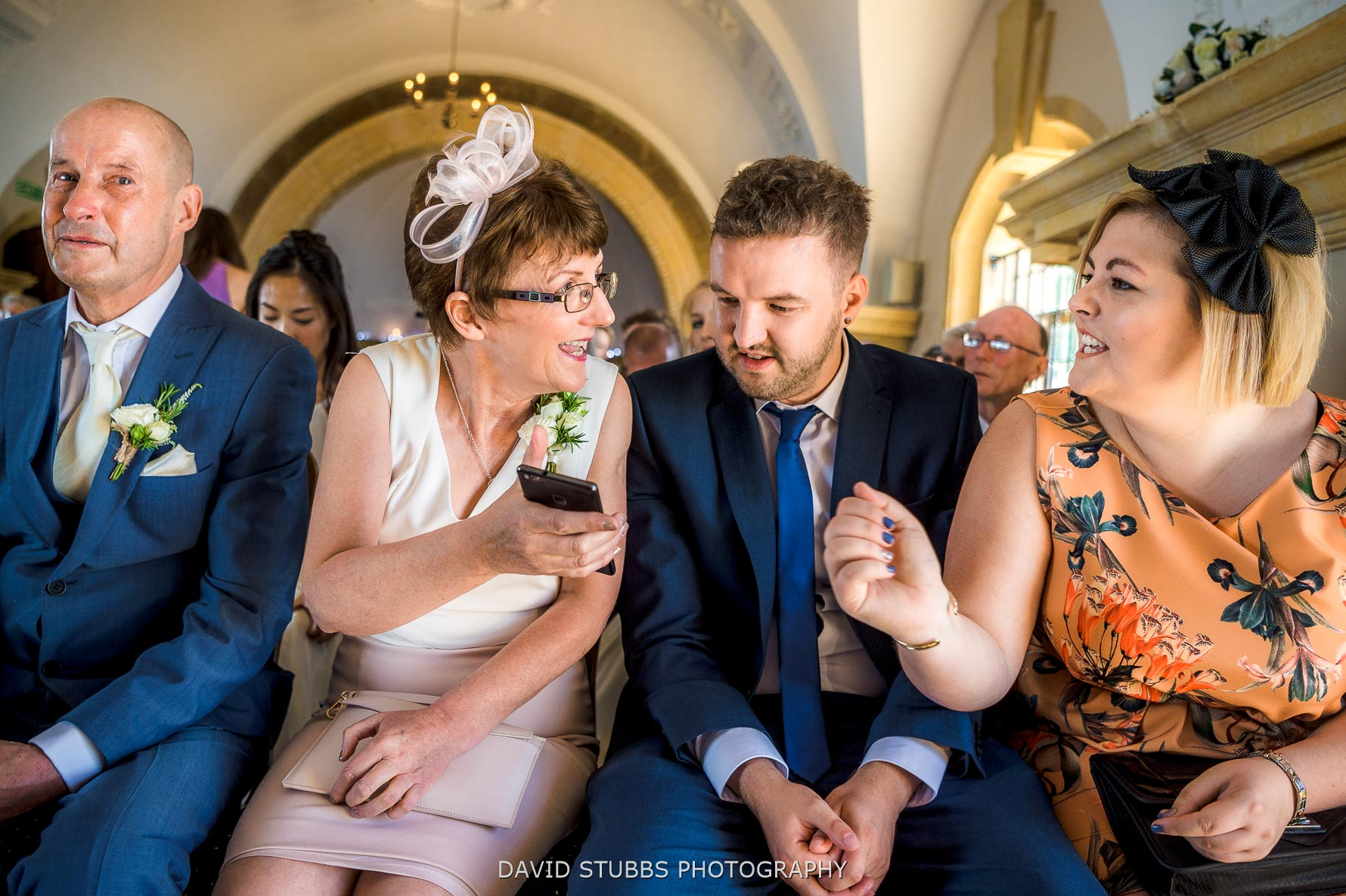 guests sat in normanton church for the wedding
