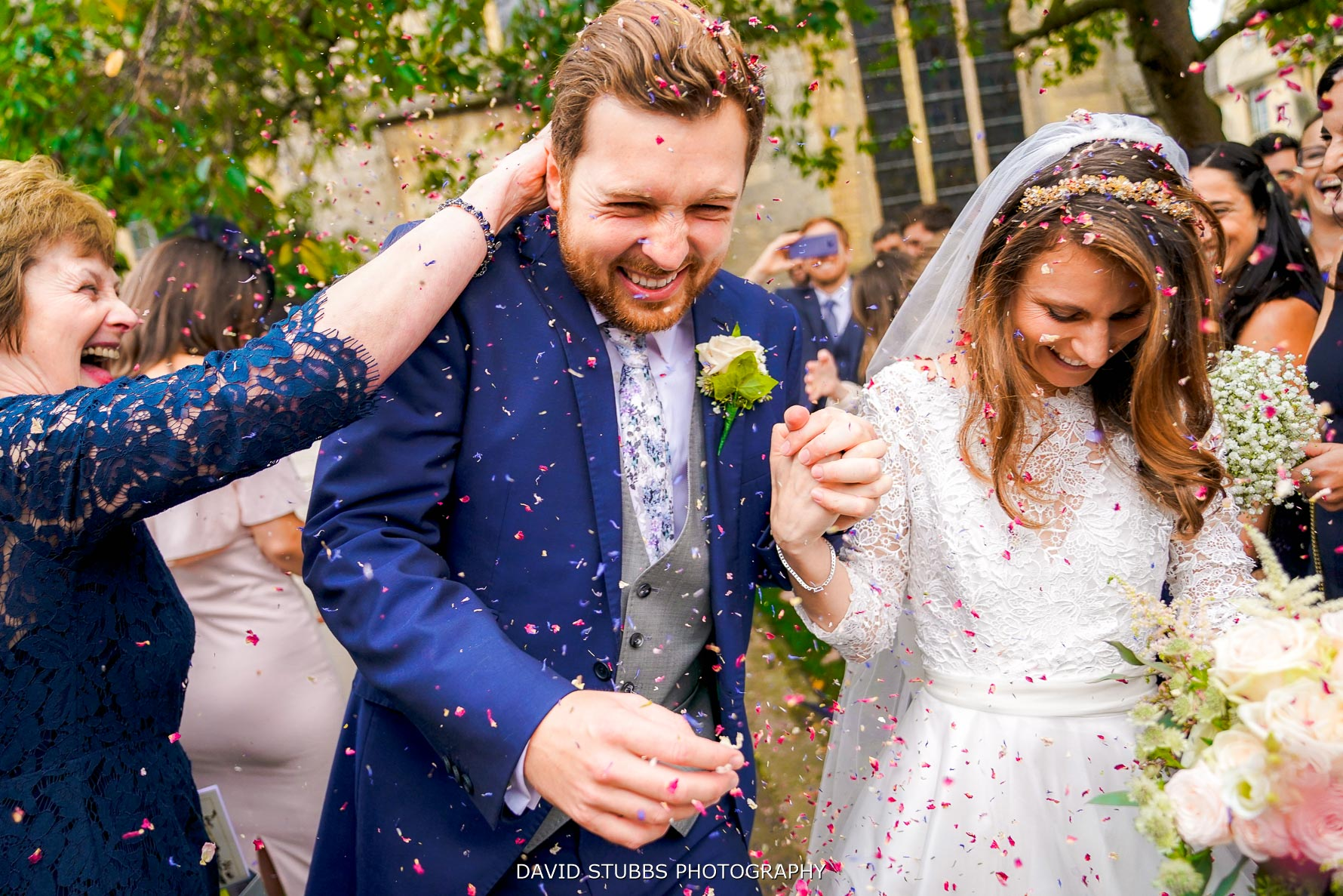 reaction to wedding confetti