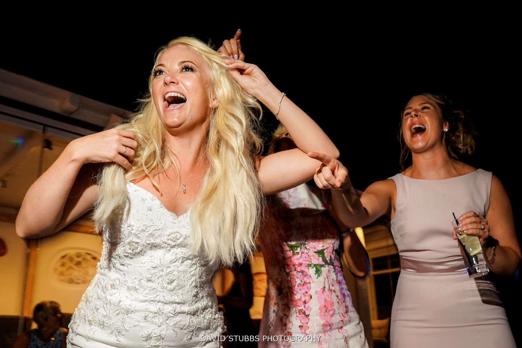 bride having the time of her life