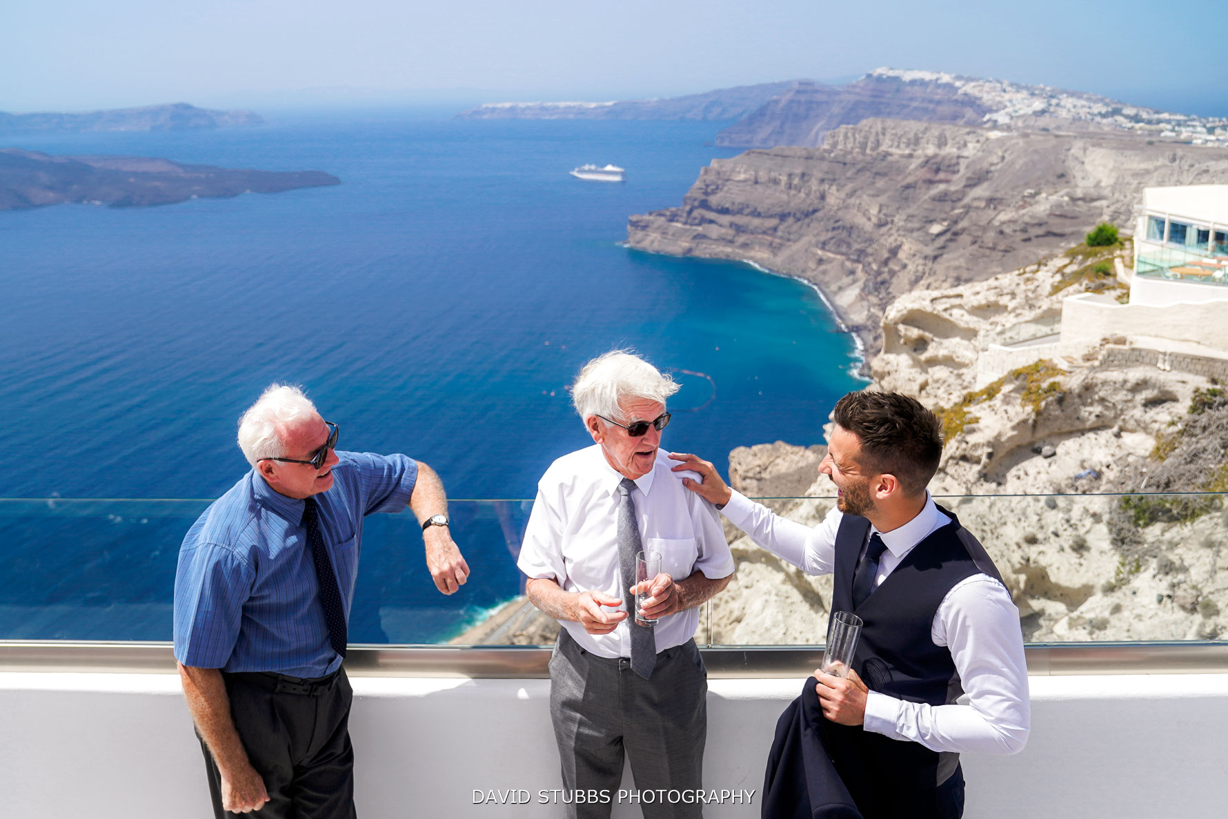 greeting wedding guests for Santorini wedding