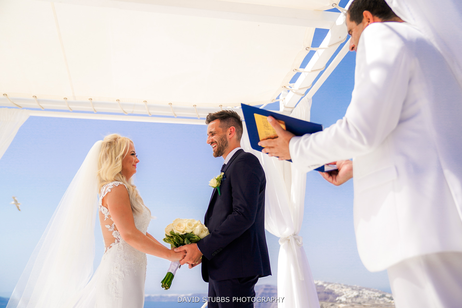 wedding ceremony on Santorini