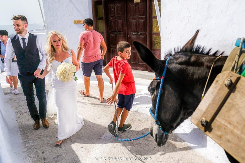 Santorini wedding photographer and donkey