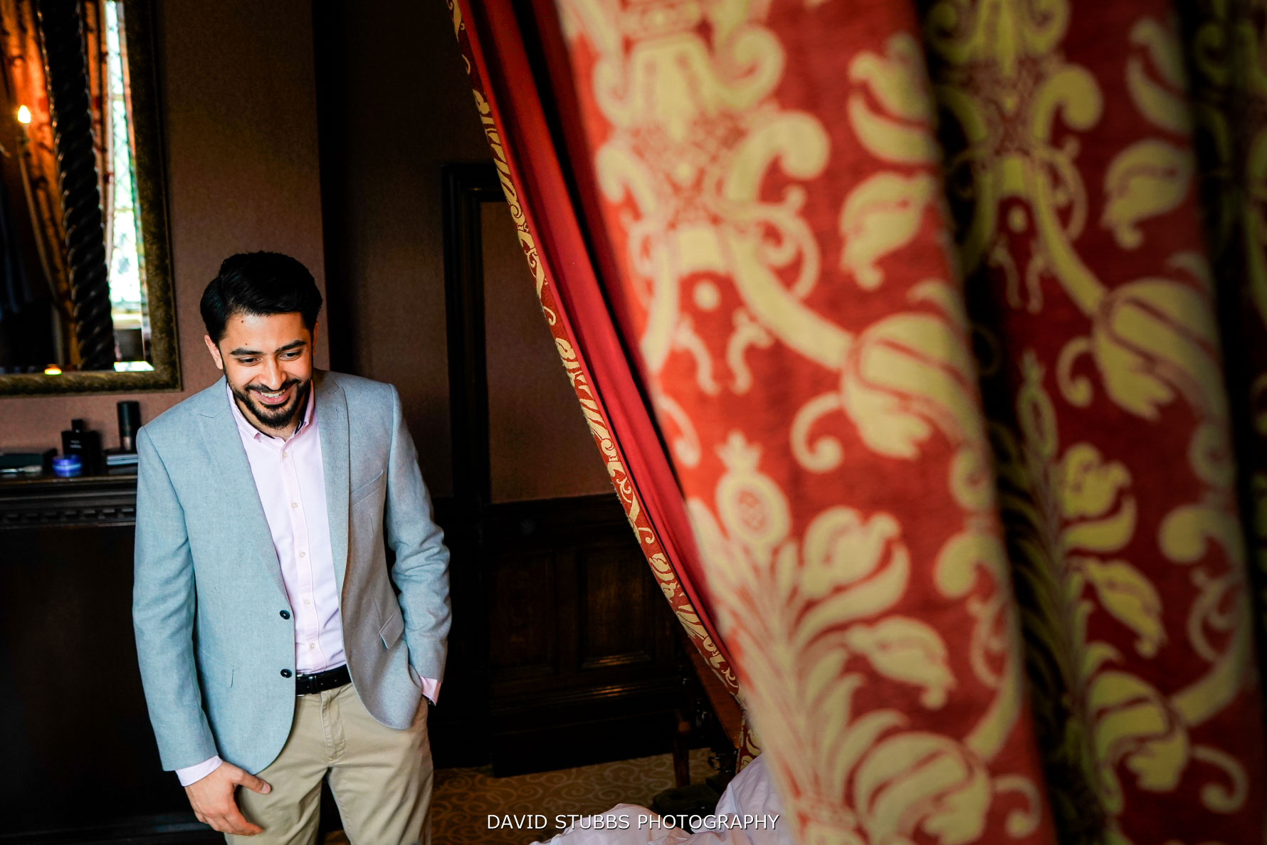 groom dressed for the wedding receptions