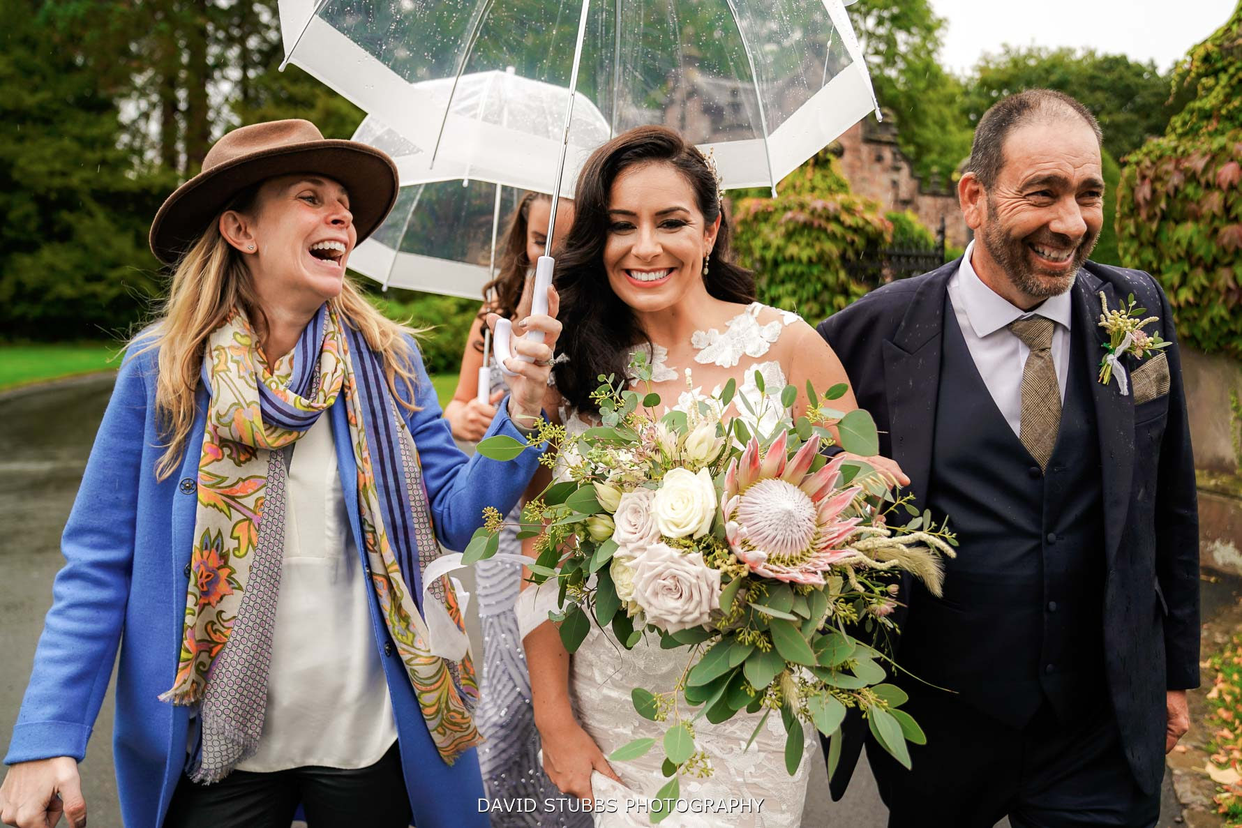 rain at dorfold hall wedding