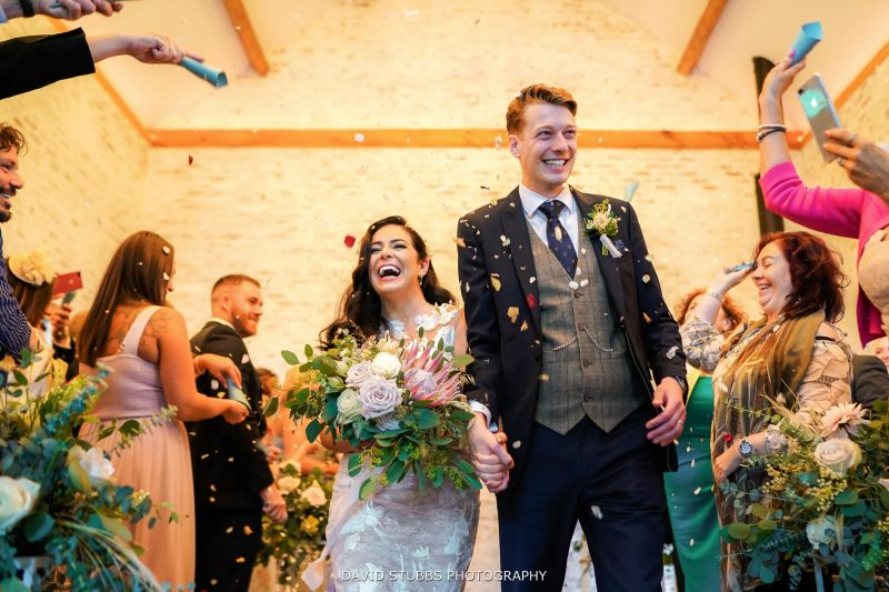 low angle confetti photo at dorfold hall wedding