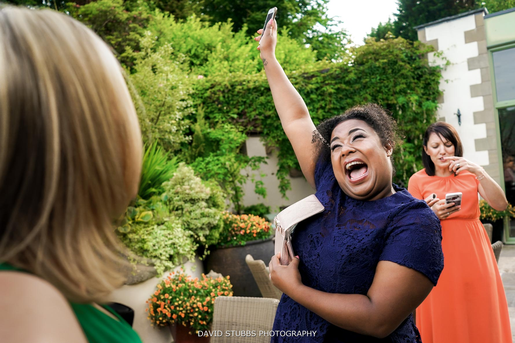 funny photo of wedding guest