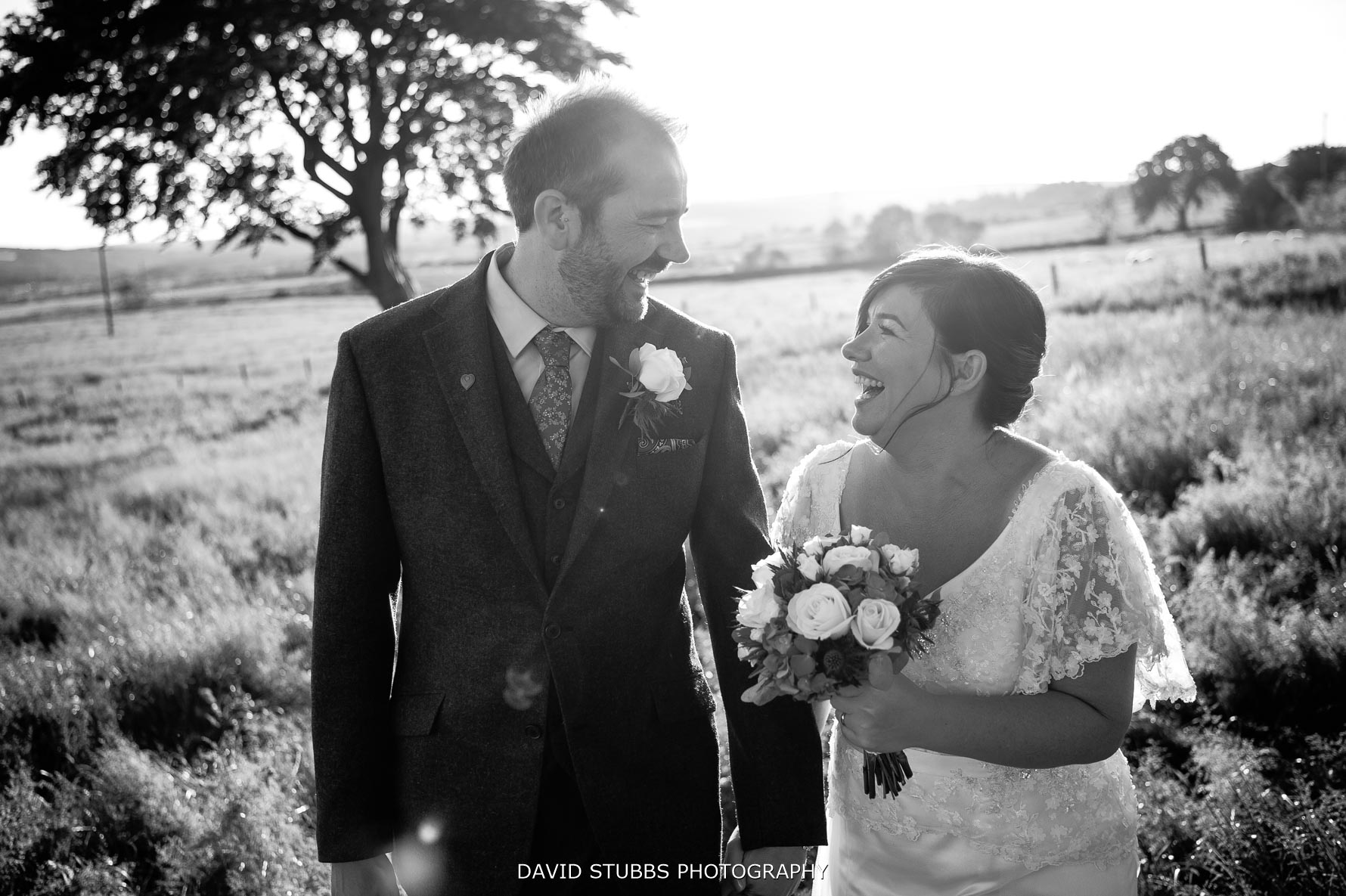 couple in love after their ceremony at the farm