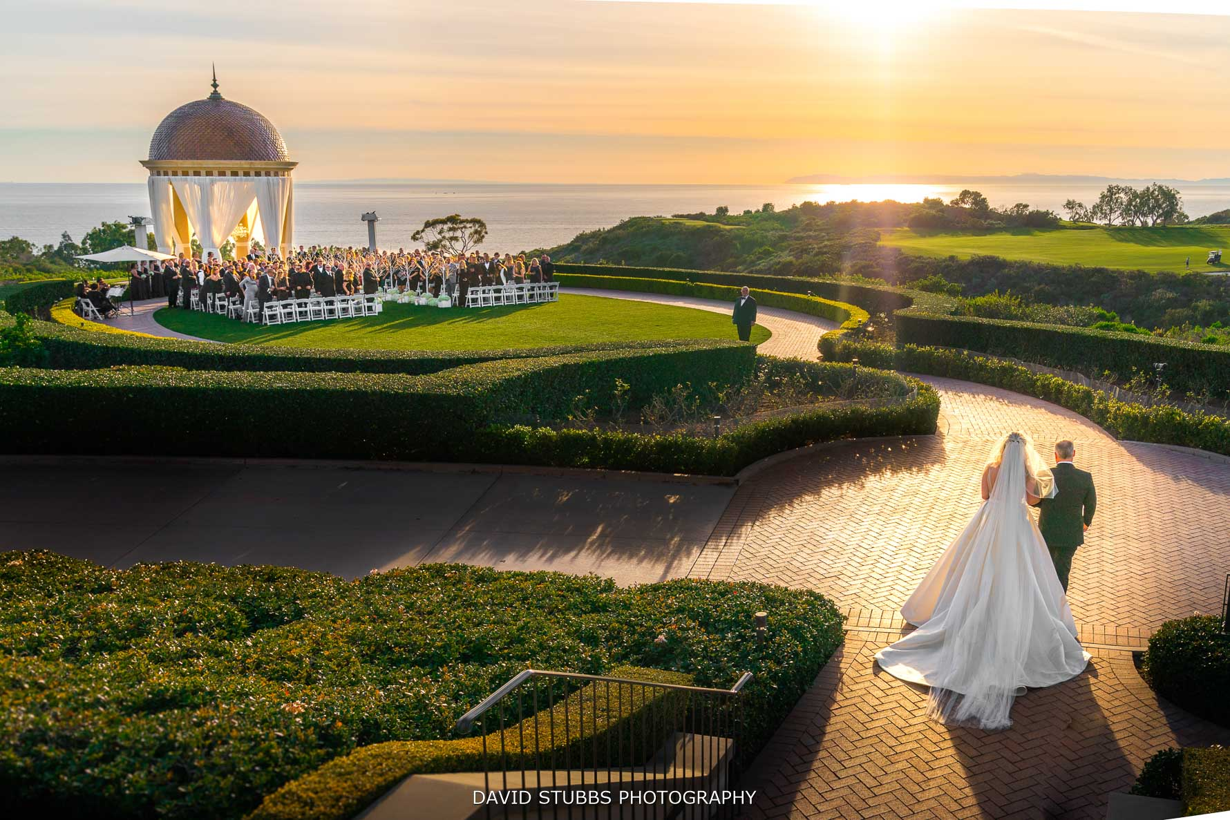 brides procession at pelican hill resort