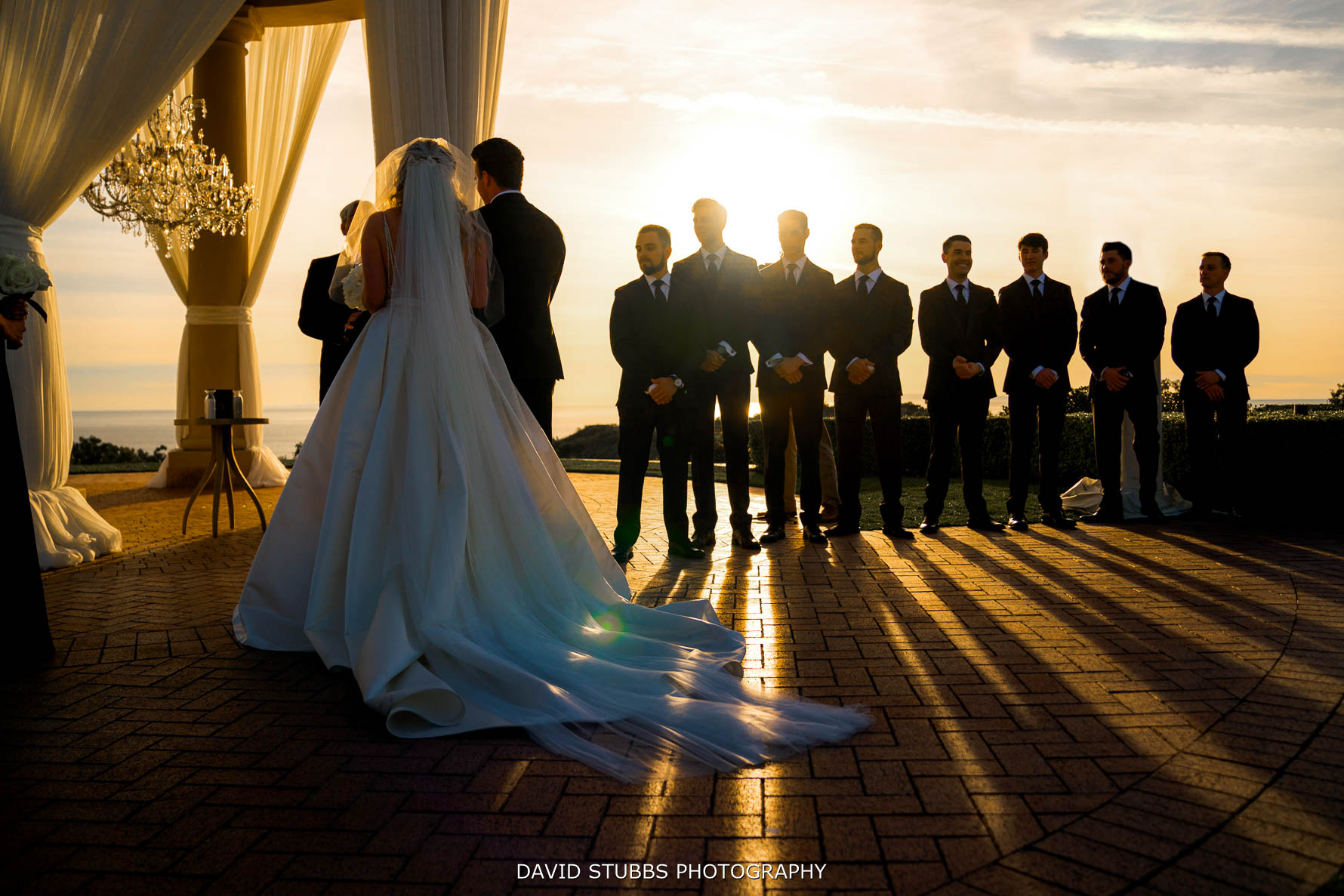 low angle photo of the pelican hill resort wedding ceremony
