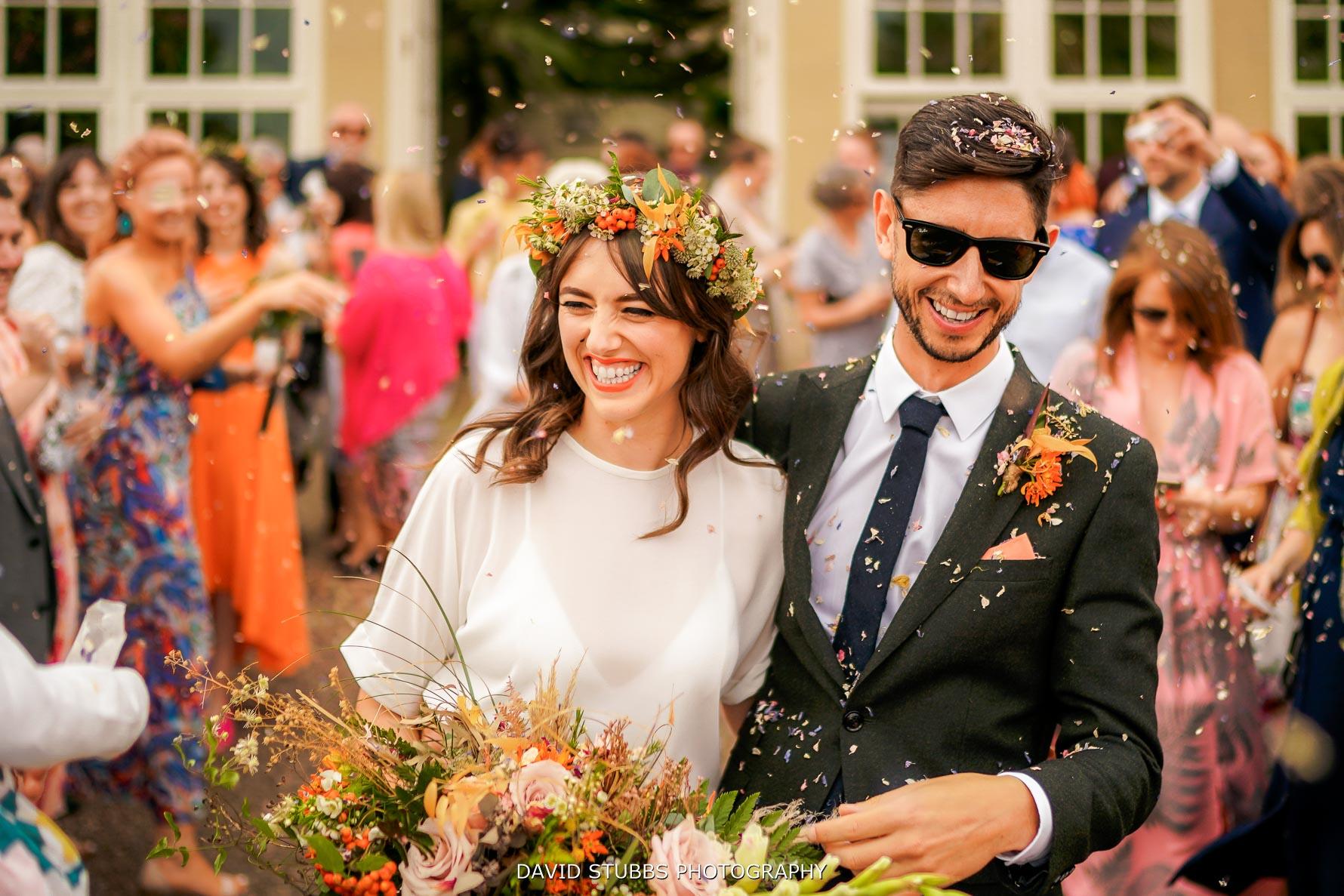 confetti photo when leaving the wedding in Sheffield